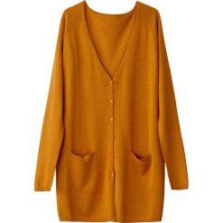 Długi rozpinany sweter z dekoltem w serek. Brązowe kardigany damskie La Redoute Collections, l, z bawełny. Za 88,16 zł.
