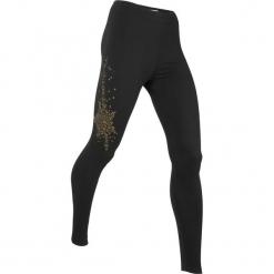 Legginsy, długie LEVEL1 bonprix czarny. Czarne legginsy we wzory bonprix. Za 74,99 zł.