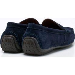 Polo Ralph Lauren - Mokasyny. Szare mokasyny męskie marki Polo Ralph Lauren, z bawełny. W wyprzedaży za 429,90 zł.