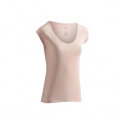 Koszulka krótki rękaw slim Gym & Pilates 500 damska. Czarne bluzki sportowe damskie marki DOMYOS, z elastanu. Za 19,99 zł.
