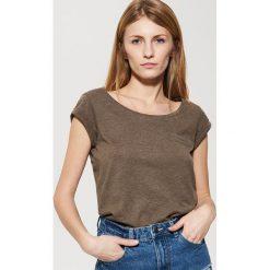 T-shirty damskie: Gładki t-shirt – Brązowy
