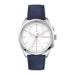 """Zegarek """"SAN-DIEGO-2010916"""" w kolorze granatowo-srebrnym. Niebieskie, analogowe zegarki męskie Lacoste, srebrne. W wyprzedaży za 589,95 zł."""