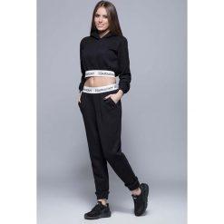 Bryczesy damskie: Czarne Sportowe Dresowe Spodnie na Gumie