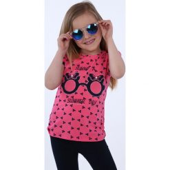 T-shirty dziewczęce: Bluzka dziewczęca we wzory amarantowa NDZ8197