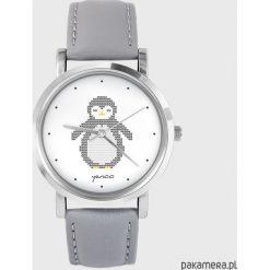 Zegarki damskie: Zegarek - Pingwin - skóra, szary