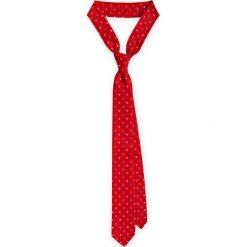 Krawat Czerwony wzór geometryczny. Czerwone krawaty męskie LANCERTO, w geometryczne wzory, z mikrofibry, eleganckie. Za 79,90 zł.