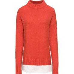 Sweter 2 w 1 bonprix pomarańczowo-czerwono-biały. Brązowe swetry klasyczne damskie marki bonprix, z dzianiny, z kontrastowym kołnierzykiem. Za 59,99 zł.