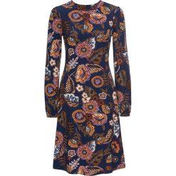 Sukienka bonprix ciemnoniebieski z kolorowym nadrukiem. Niebieskie sukienki dzianinowe bonprix, w kolorowe wzory. Za 99,99 zł.