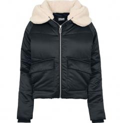 Urban Classics Ladies Sherpa Hooded Jacket Kurtka zimowa damska czarny/beżowy. Brązowe bomberki damskie Urban Classics, na zimę, l, z polaru. Za 199,90 zł.
