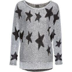 Swetry klasyczne damskie: Sweter dzianinowy bonprix srebrno-czarny