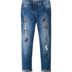 """Dżinsy SKINNY z haftem bonprix niebieski """"stone"""". Niebieskie rurki dziewczęce bonprix, z aplikacjami. Za 79,99 zł."""