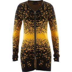 Długi sweter rozpinany z dzianiny żakardowej bonprix czarno-żółty szafranowy wzorzysty. Czarne kardigany damskie bonprix, z dzianiny. Za 49,99 zł.