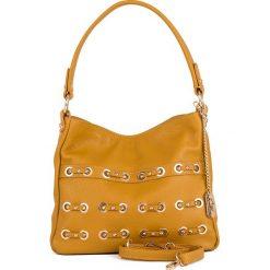 Torebki klasyczne damskie: Skórzana torebka w kolorze żółtym - 30 x 25 x 8 cm