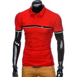 KOSZULKA MĘSKA POLO BEZ NADRUKU S881 - CZERWONA. Czerwone koszulki polo Ombre Clothing, m, z nadrukiem. Za 45,00 zł.