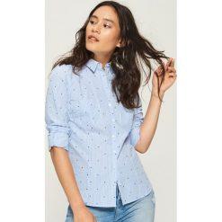Bawełniana koszula z wzorem - Niebieski. Niebieskie koszule damskie Sinsay, l, z bawełny. Za 49,99 zł.