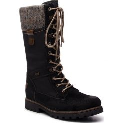 Kozaki REMONTE BY RIEKER - D7477-02 Schwarz Kombi. Czarne buty zimowe damskie marki Remonte by Rieker, z materiału. Za 409,00 zł.