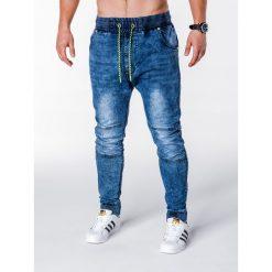SPODNIE MĘSKIE JEANSOWE JOGGERY P652 - NIEBIESKIE. Niebieskie joggery męskie Ombre Clothing, z bawełny. Za 79,00 zł.