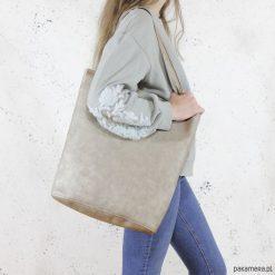Shopper XL torba beżowa codzienna na zamek. Brązowe shopper bag damskie Pakamera, na ramię. Za 155,00 zł.