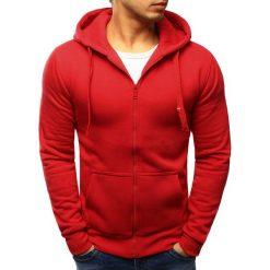 Bluzy męskie: Bluza męska rozpinana z kapturem czerwona (bx2033)