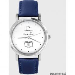 Zegarek - Time for a book - granatowy, skórzany. Niebieskie zegarki męskie Pakamera. Za 139,00 zł.