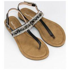 Chodaki damskie: Czarne sandały japonki SMALL SWAN czarne