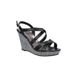 Sandały Tamaris  Sandały skórzane na koturnie  1-28343-28. Czarne sandały damskie marki Tamaris, na koturnie. Za 169,99 zł.