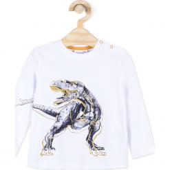 Koszulka. Białe t-shirty chłopięce z długim rękawem STEGOSAURUS, z bawełny. Za 29,90 zł.