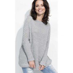 Swetry oversize damskie: Szary Cieplutki Luźny Sweter z Angielskim Ściegiem
