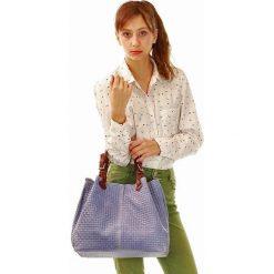 Shopper bag damskie: Skórzana torebka shopper MAZZINI FLORENCE ultra fiolet