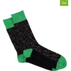 Skarpetki męskie: Skarpety (3 pary) w kolorze zielono-czarnym