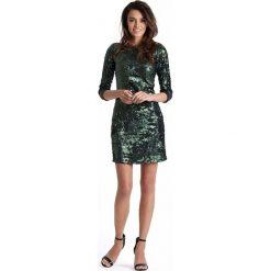 Zielona Mini Sukienka Bodycon w Stylu Glamour. Zielone sukienki balowe marki Molly.pl, na imprezę, l, z tkaniny, z dekoltem na plecach, mini, bodycon. Za 249,90 zł.