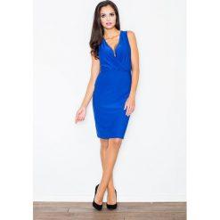 Odzież damska: Kobieca Niebieska Sukienka przed Kolano z Założeniem Kopertowym