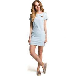 Błękitna Dopasowana Mini Sukienka z Ozdobną Naszywką. Niebieskie sukienki dzianinowe marki Molly.pl, na plażę, l, z aplikacjami, z krótkim rękawem, mini, dopasowane. Za 88,90 zł.