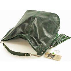 Torebki klasyczne damskie: Skórzana Torebka Worek Frędzle AMPARO zielony