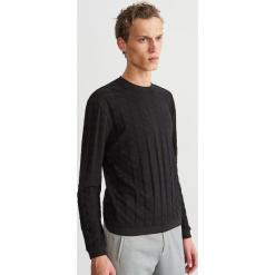 Bluza ze strukturalnej dzianiny - Czarny. Czarne bluzy męskie Reserved, l, z dzianiny. Za 99,99 zł.