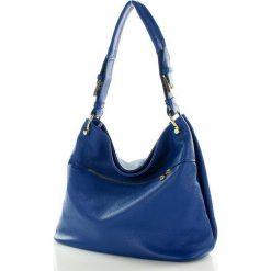 ESTELLA -  Stylowa włoska torebka ze skóry naturalnej - granatowa. Niebieskie torebki klasyczne damskie MAZZINI, ze skóry. Za 289,00 zł.