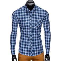 KOSZULA MĘSKA W KRATĘ Z DŁUGIM RĘKAWEM K419 - GRANATOWA. Niebieskie koszule męskie na spinki Ombre Clothing, m, z długim rękawem. Za 49,00 zł.