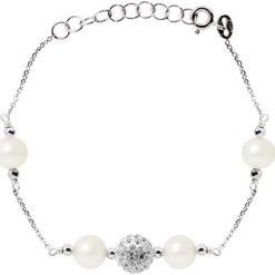 Bransoletki damskie: Srebrna bransoletka z perłami słodkowodnymi