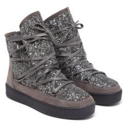 Botki w kolorze szarym. Szare buty zimowe damskie Carla Samuel, na zimę, na sznurówki. W wyprzedaży za 169,95 zł.