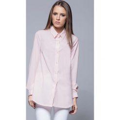 Bielizna damska: Różowa Elegancka Koszula o Wydłużonym Kroju