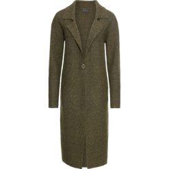 Płaszcze damskie pastelowe: Płaszcz dzianinowy bonprix ciemnozielony melanż