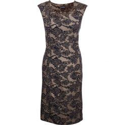 Sukienka shirtowa modelująca sylwetkę bonprix brunatno-czarny wzorzysty. Czarne sukienki marki Molly.pl, na spotkanie biznesowe, l, z tkaniny, z dekoltem na plecach, dopasowane. Za 119,99 zł.