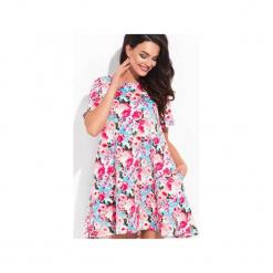 Phlox - różowa sukienka pikowana w kwiaty. Czerwone sukienki na komunię marki Cocoviu, do pracy, l, biznesowe, trapezowe. Za 98,00 zł.