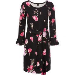Sukienki: Sukienka z kwiatowym nadrukiem: must have bonprix czarny w kwiaty