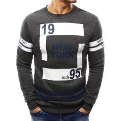 Bluzy męskie: Bluza męska z nadrukiem antracytowa (bx3381)