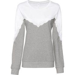 Bluza z koronką bonprix biel wełny - jasnoszary melanż. Białe bluzy damskie bonprix, w koronkowe wzory, z koronki. Za 74,99 zł.