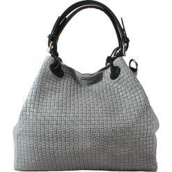 Torebki i plecaki damskie: Skórzana torebka w kolorze szarym – 34 x 29 x 18 cm