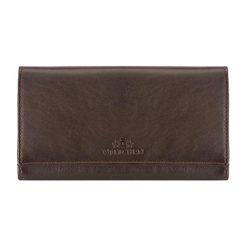 Portfele damskie: Skórzany portfel w kolorze brązowym – (D)18,5 x (S)10 cm