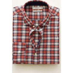 Mango Man - Koszula Rebeca. Brązowe koszule męskie na spinki Mango Man, l, w kratkę, z bawełny, z włoskim kołnierzykiem, z długim rękawem. Za 139,90 zł.