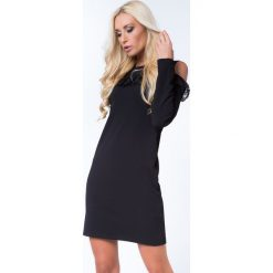 Sukienka z koronkową falbanką czarna 16070. Czarne sukienki marki Fasardi, xl, z koronki, z falbankami. Za 59,00 zł.